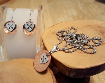 Archery love hand stamped mixed metal copper and aluminum pendant necklace and earrings set