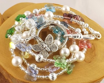 Spring Butterflies pastel multicolor Swarovski butterfly crystal and pearl lanyard Back To School