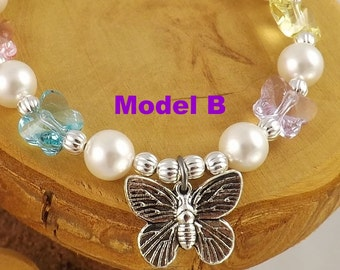 Spring Butterflies multicolor Swarovski crystal and pearl adjustable butterfly charm bracelet Model B