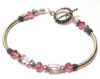 Pink Topaz and Pink Amethyst Karen Hill Tribe Sterling Silver Tube Bracelet 8 Inches