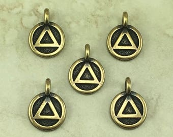 Recovery Round Stamp charm > Alcoholics Anonymous AA 12 Step Program - Brass Ox Plated Lead Free pewter - I ship Internationally 2506