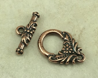 1 Ornate Garland Flower Toggle Clasp - Garden Wedding Bride Love - Tierra Cast Copper Plated LEAD FREE Pewter - I ship Internationally 6028
