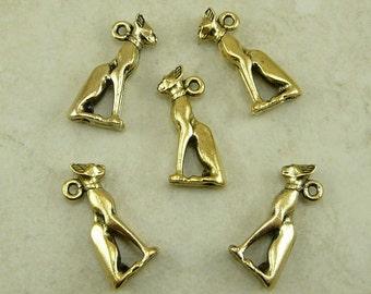 5 Egyptian Cat God Bastet Charms > Baste Symbol Feline - Raw American made Lead Free Pewter in gold tone finish - I ship internationally