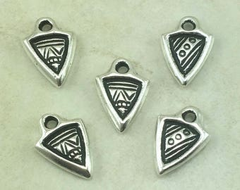 5 TierraCast Tiny Ethnic Dart Charms > Tribal Abstract Zen Doodle - Silver Plated LEAD FREE Pewter - I ship Internationally 2014