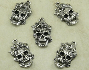 5 Female Lady Sugar Skull Day of the Dead Charms > Suicide Squad Ornate Scroll Aztec Hair -  Raw Lead Free Pewter - I ship Internationally