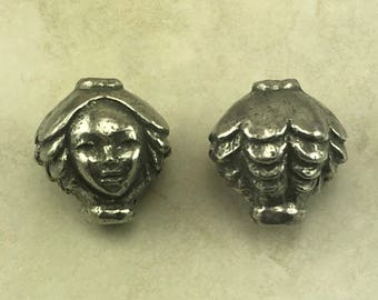 Dryad Head Green Girl Bead - Fairy Fantasy Forest Sprite Summer Focal Large Hole - American Artist Made Lead Free Pewter Silver 248