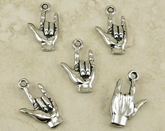 I Love You Sign Language ASL Hand Charms  /  Valentines Day Amour - Raw Lead Free Pewter Silver American Made I ship Internationally