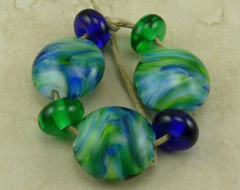 Blue Planet - Earth Tropical Ocean Surf Surfing Blue Green Aqua Beach - Lentil Lampwork Bead Set - SRA - I ship Internationally