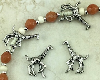 Giraffe Bead > Africa Animals Savannah Nubian Rothchild Safari Tall -  Raw American Made Lead Free Pewter Silver - I ship internationally