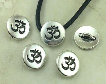 TierraCast Small Om Button > Flower Zen Buddhist Yoga Buddha - Fine Silver Plated LEAD FREE Pewter - I ship Internationally 6586