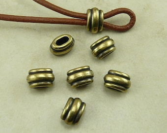 Barrel Slide Spacer Beads 4x2mm ID Deco Ribbed Small Qty 6 TierraCast > Brass Ox Plated Lead Free Pewter - I ship Internationally NP