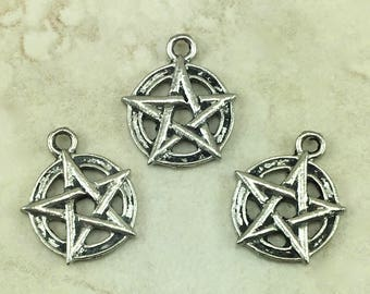 Pentagram Symbol Charm > Star Protection Pentacle - Raw Unfinished American made Lead Free Pewter I ship internationally