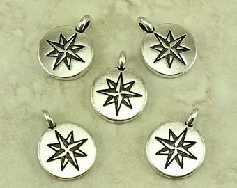 5 TierraCast Mini North Star Charms * Travel Compass Wander Explore Adventure - Silver Plated Lead Free pewter - I ship Internationally NP