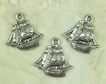 Pirate Ship Charm > Jolly Rodger Caribbean Skull Crossbones Black Pearl - American Made Raw Lead Free Pewter Silver - I ship Internationally