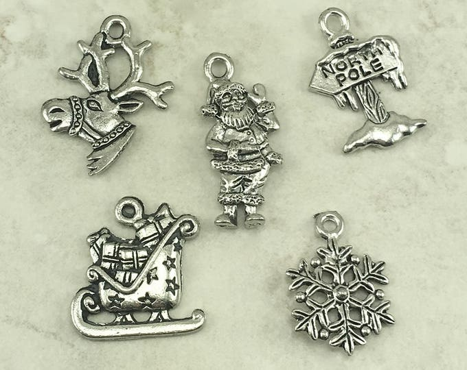 Featured listing image: Christmas Charm Mix Pack > Santa Clause Reindeer Sleigh North Pole Snow Flake - American Made Lead Free Pewter Silver I ship internationally