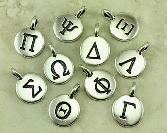 Round Greek Alphabet Letter Charms > Greece Custom Pick Your Letters Personalize Name Initial Bangle Silver Plated Lead Free Pewter
