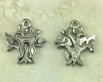 Chai Symbol on Tree of Life Charm > Giving Chai 18 Jewish Hebrew Jew - Raw Unfinished American made Lead Free Pewter I ship internationally