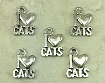 I Love Cats Charm > Feline Kitty Meow Kitten - Raw American Made Lead Free Pewter Silver - I ship internationally