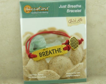 TierraCast Quick Kit Just Breathe Button Bracelet Zen Tranquility Flower of Life Gold American Made Lead Free Pewter I ship Internationally