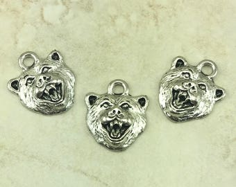 Bear Face Charm > Grizzly Black Brown Forest Ursidae Beowulf Spirit Animal - American Made Lead Free Silver Pewter - I ship Internationally