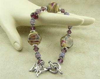 Purple Haze Lampwork Bead and Swarovski Crystal Bracelet - Purple Lavender Lilac Butterfly Fantasy Fae Magical - I ship Internationally
