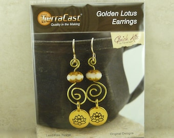 TierraCast Quick Kit Golden Lotus Earrings > Zen Tranquility Spiral Wire Wrap - American Made Lead Free Pewter I ship Internationally