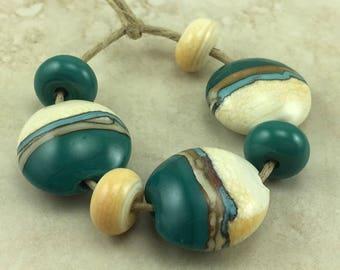 Desert Sands Lentil Lampwork Bead Set > Silvered Ivory Teal Turquoise Green Primitive Desert Native - SRA - I ship Internationally
