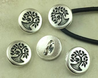 TierraCast Small Tree of Life Button > Bodhi Zen Buddhist Yoga Buddha - Fine Silver Plated LEAD FREE Pewter - I ship Internationally 6583