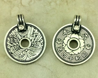 Asian Coin Pendant Charms > Ornate Flower Wave Replica - TierraCast Silver Plated Lead Free Pewter - I ship Internationally NP