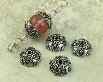 4 Ornate Scrolls Round Bead Cap > Swirl Beaded Spiral Triangle Bali Style - American Made Lead Free Pewter Silver I ship Internationally