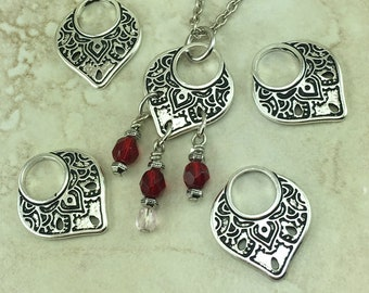 TierraCast Temple Ring Link - Chandelier Bali Zen Peace Pendant Links - Fine silver plated lead free pewter - I ship Internationally 3219