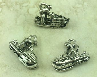 Snow Mobile Sled Charm > Winter Sport Ride Fun Frozen Ice Cold Weather - American Made Lead Free Pewter Silver - I ship internationally