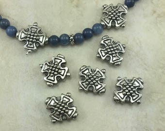 5 Ornate Cross Pattee Beads > Maltese Style Saint Florian Firefighter - American Made Lead Free Pewter Silver - I ship internationally