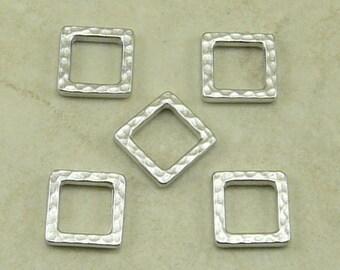 5 TierraCast Small Square Diamond Hammertone Hammered Bead Links Ring > Rhodium plated Lead Free Pewter - I ship Internationally 3099