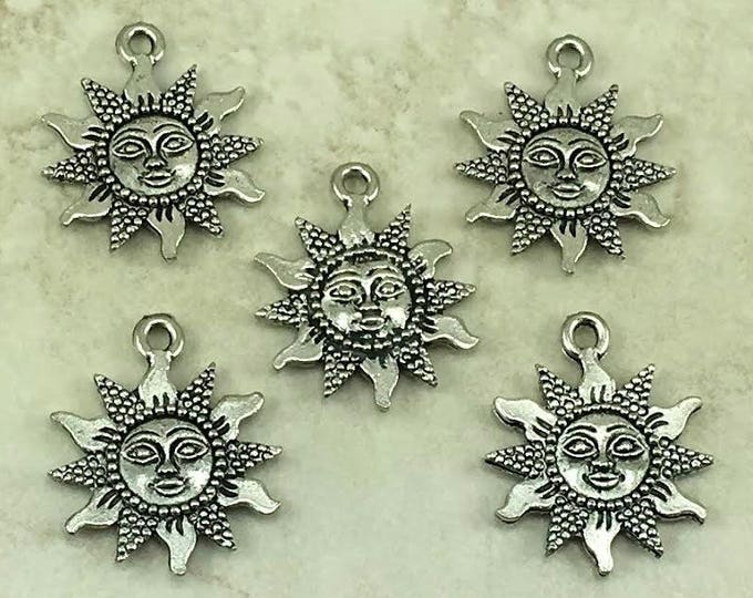 Featured listing image: Sun Face Pendant Charms > Sunshine Summer Eclipse Solar Del Sol - Raw American made,  Lead-Free Pewter - I ship internationally
