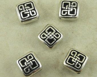 5 Small Celtic Diamond beads - Irish St Patricks Day - Tierra Cast Silver Plated Lead Free Pewter -  I ship Internationally - 5528-12