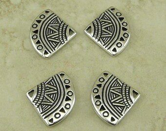 TierraCast Ethnic Fan 5-1 Link Connector / Tribal Egyptian Incan Mayan Fine Silver Plated LEAD FREE Pewter Bead I ship Internationally 3013