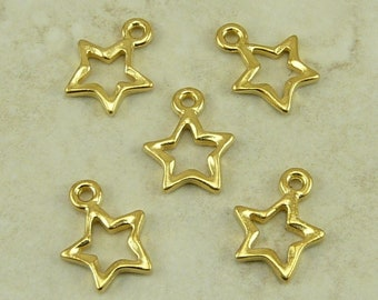 5 Open Star Charms * Celestial Space Astrology Astronomy Galaxy - TierraCast 22kt Gold Plated LEAD FREE pewter - I ship Internationally NP