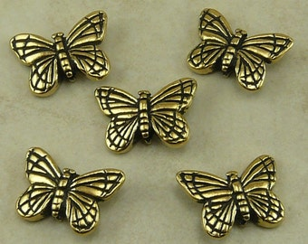 5 TierraCast Monarch Butterfly Beads * Insect Garden Mothers Day Spring Flower 22kt Gold Plated Lead Free Pewter I ship Internationally NP