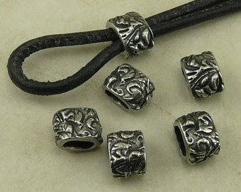 6 TierraCast 4x2mm ID Dulce Vida Jardin Small Barrel Crimp Spacer Beads * Floral Flower Spring > Antique Pewter Silver Plated Lead Free NP