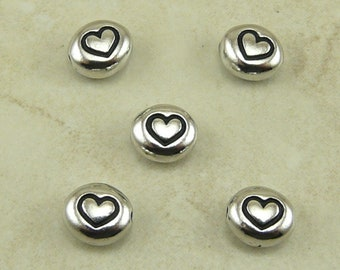 Love Heart Symbol Beads > Valentines Day Love Bridal Wedding Qty 5 - TierraCast Rhodium Plated Lead Free Pewter - I ship Internationally NP