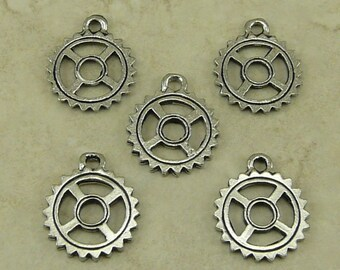 Gear Sprocket Charms > Machine Watch Part Steampunk Steam Punk - Raw Unfinished American Made Lead Free Silver Pewter I ship Internationally