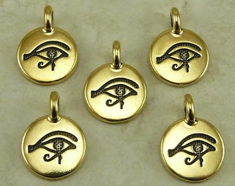 Eye of Horus Round Stamp charm > Pyramid Ra Egyptian Egypt Symbol Sun God - 22kt Gold Plated Lead Free pewter I ship Internationally 2503