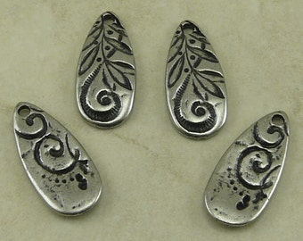 TierraCast Dulce Vida Jardin Large Teardrop Charms - Romance Floral Swirl Flower Leaves Zen Doodle Antique Pewter Silver LEAD FREE Np