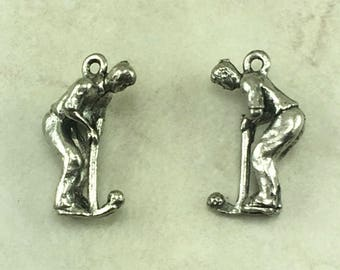 Golfer Putting Charm / Golf Golfing LPGA PGA Putter Outdoor Activity Miniature - Raw Unfinished American Made Lead Free Silver Pewter