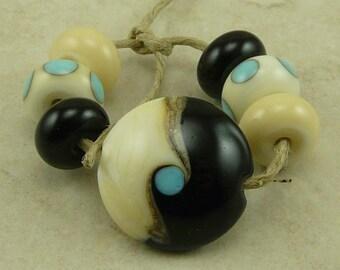 Yin Yang Lentil Lampwork Bead Mini Set - Ebony & Ivory Turquoise Opposites Swirl Silvered Ivory - SRA - I ship Internationally