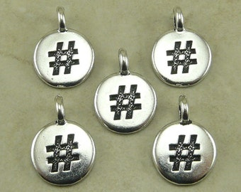 5 TierraCast Round Hashtag Hash Tag Stamp charms > Word Letter Symbol Stampable Silver Plated Lead Free pewter - I ship Internationally 2452
