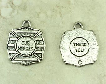 Our Heroes Charm > Law Enforcement Deputy Sheriff Fireman Fire Fighter Military American Made Lead Free Pewter Silver I ship Internationally
