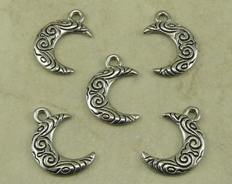 5 Ornate Spiral Crescent Moon Charms > Waxing Waning Lunar Luna Night Sky Astrology Space - Raw American Made Lead Free Silver Pewter