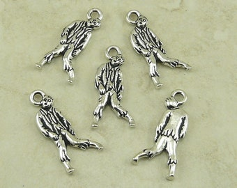 Zombie Charms TierraCast > Walking Undead Zombie Apocalypse Dead Tattoo Qty 5 - Silver Plated Lead Free Pewter - I ship Internationally 2382